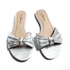 Silver Sandals New In Box Slides